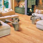 salón comedor con sofás beige y suelo de parquet