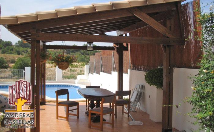 Porches de madera porches de madera para terraza y jard n - Como hacer una pergola ...
