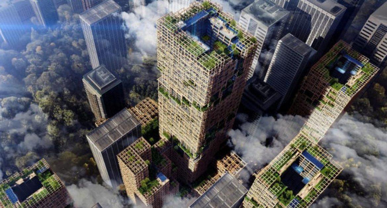 el rascacielos de madera mas grande del mundo